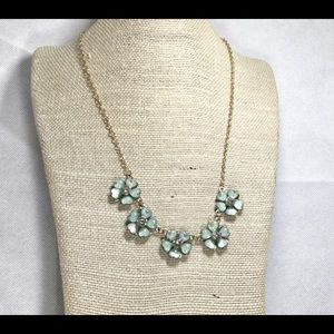 10 in floral green blue bib necklace gold aqua